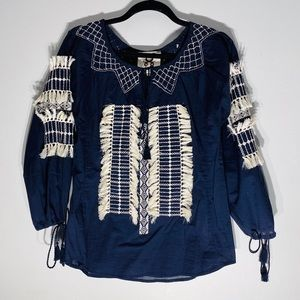 FIGUE**Navy and White Embroidered Top**XXS $389